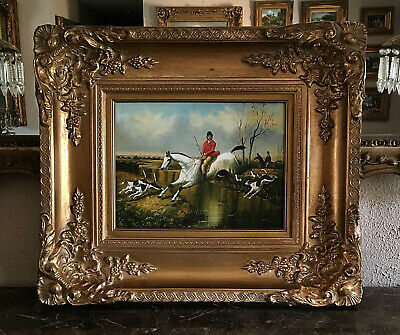 Antique Style Oil Painting Old English Country Landscape Fox Hunt Scene Framed
