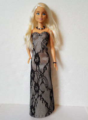 BARBIE FASHIONISTAS Doll Clothes Black Lace GOWN & JEWELRY Fashion NO DOLL d4e