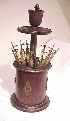 Rare!! Antique Victorian Mid 1800'S Rosewood Push Button Cigar Dispenser Holder