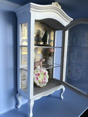 Dollhouse Curio Shabby Chic 1:12 China Display Hutch Cabinet OOAK Miniature 1