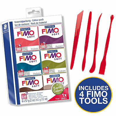 Fimo Starter Kit 6 Colours And Tool Set - Earth Colours Set