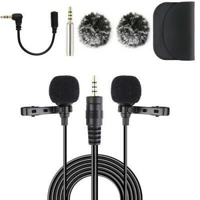 20FT Dual Lavalier Microphone, Lapel Interview Clip-on Mini Omnidirectional Mic