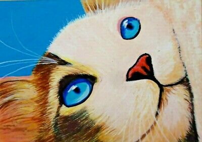 ACEO CARD Art Cat Animal Original Painting drawing Acrylic Miniature kitten