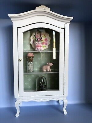 Dollhouse Curio Shabby Chic 1:12 China Display Hutch Cabinet OOAK Miniature 2