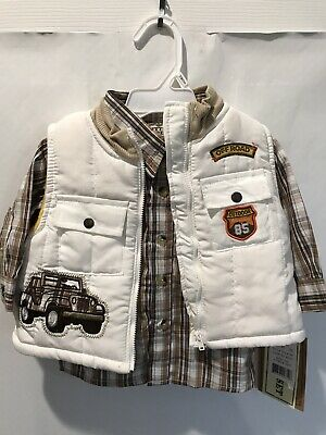LITTLE REBELS Baby Boys Brown Plaid Whirt With Outdoor Theme Vest Size M NWT