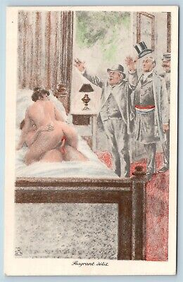 Postcard French Risque Man Woman Nude Cartoon Comic Blatant Delight Q16