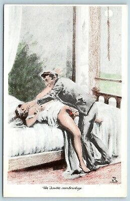 Postcard French Risque Man Woman Nude  Cartoon Double Dressing Q16