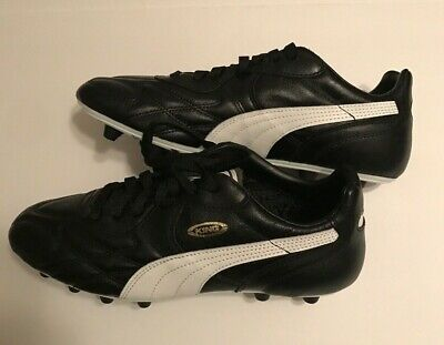 c8a6608c1 PUMA King Top DI FG Leather Soccer Cleats Black White Gold NEW [170115-01