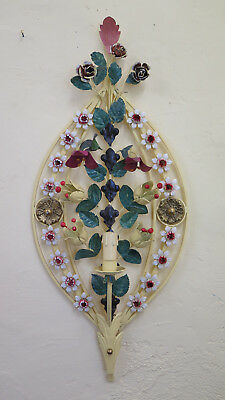 Wall Light Lamp Wrought Iron Hand Made Vintage with Flowers CH-18