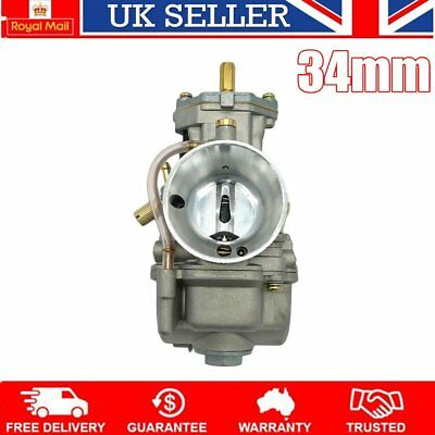 Motorcycle Carburetor 34mm Racing Flat Side for PWK Carb W/ Power Jet UK STOC~~#