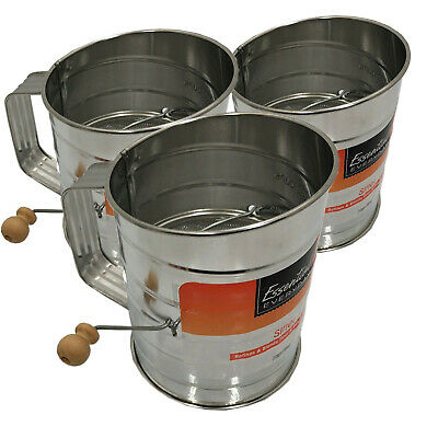 3 Piece Flour Sifter 3 Cup Stainless Steel Hand Crank Baking Powder Kitchen