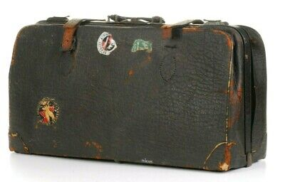 Antique Black Warranted Genuine Seal Leather Briefcase Steampunk Travel Tote