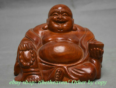 "7.6"" Chinese Huanghuali Wood Carving Dynasty Maitreya Buddha Wealth Sculpture"