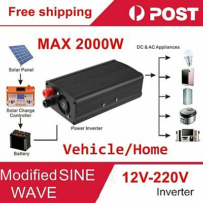 Car 2000W converter power inverter DC 12V to AC 220V - 240V invertor with USB ~#