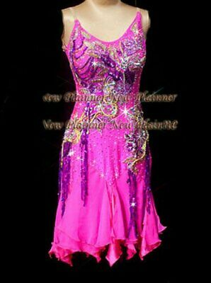 L1927 ballroom Rhythm salsa Latin samba swing dance dress UK10 US8 pink