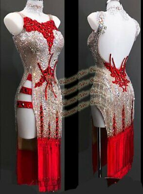 L1925 ballroom Rhythm salsa Latin samba swing dance dress UK10 US8 nude/ red