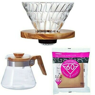 HARIO V60 OliveWood Coffee Dripper Server Paper Filter Set for 1-4cups 600ml