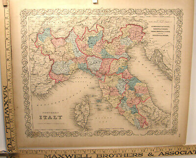 Antique Hand Colored Engraving Map 1859 Colton's General Atlas Northern Italy
