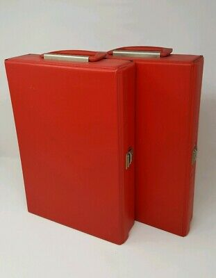 2x vintage retro 80s red cassette tape carry case bags (holds 30 tapes)