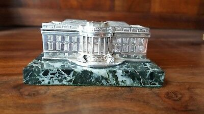 Impressive  unusual stirling silver paperweight model of the whitehouse c1989