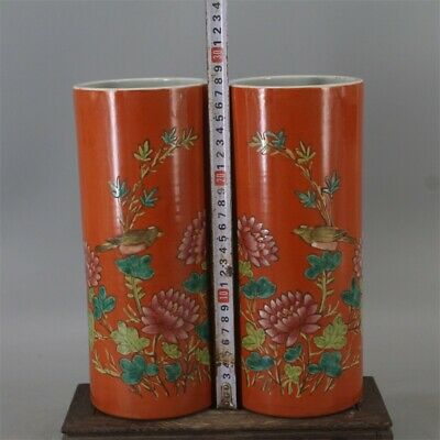 antique Qing Dy Famille-rose Birds and flowers Porcelain Hat tube vase pair