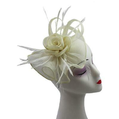 New Sinamay Flower Fascinator With Feathers Net On Alice Band and Clip