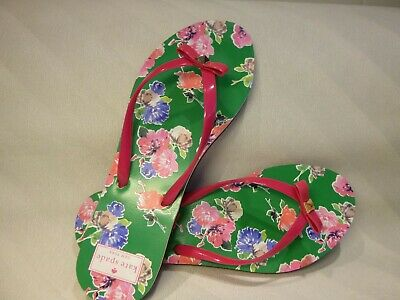 9036f9a4524d3c KATE SPADE Flip Flop Flops Pink Green with Flowers Studded Bow Sandals Size  10M