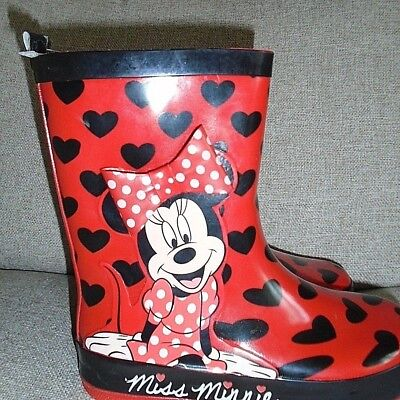 Disney Minnie Mouse 3D Rubber Wellington Boot In Red Uk13 Kids Eu 32 New!