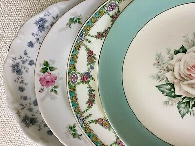 Mismatched China Dinner Plates ~ WITH FLAWS ~ Pink & Blue Florals ~ Set of 4