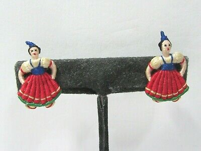 European Dutch Small Woman Handcrafted Thread Dolls People Clip On Earrings Tiny