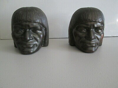Antique Vintage Set of 2 Metal Tribal Head Bookends Book Ends Pair