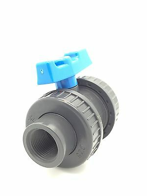 """PVC Ball Valves Double Union BSP (Threaded) & Solvent Weld (Glue) 1/2"""" to 4"""""""