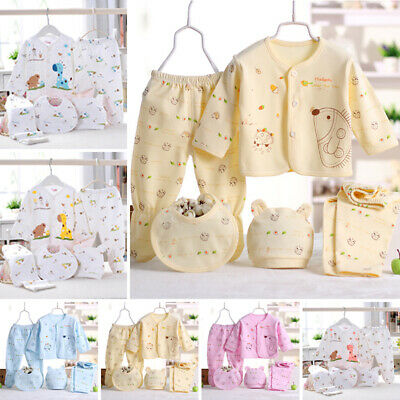 5Pcs/Set Newborn Baby Boy Girl Cartoon Cotton T-Shirt Pants Hats Bibs Outfits