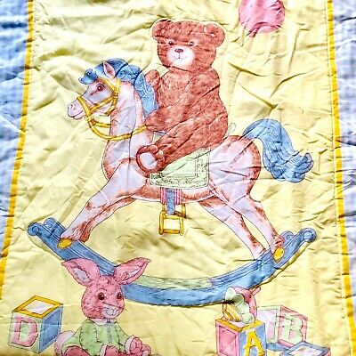 Vintage Teddy Bear Graphic Baby Quilted Blanket Yellow Rocking Horse