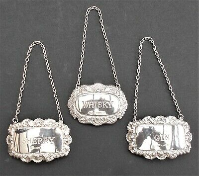 3 X Sterling Silver Bottle Decanter Labels, Whisky Sherry & Gin 1977 &1978