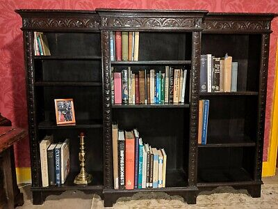 Antique bookcase Victorian dark oak, superb condition