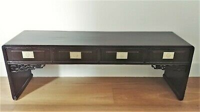REDUCED Art Deco Chinese Lacquer and Silver Metal Carved Altar Table 4 Drawers
