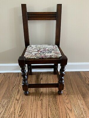 Antique Carved Wood Barley Twist Large Children's Chair