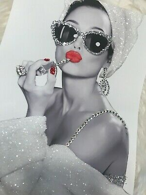 Sparkly Glitter Audrey Hepburn Girl night in glitter canvas print with diamontes