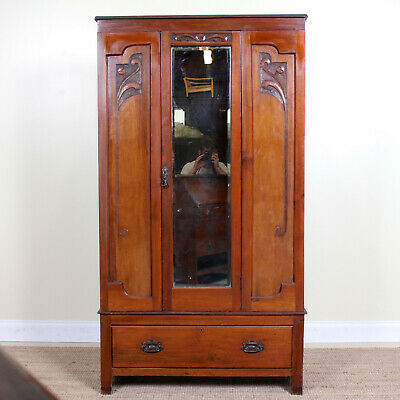 Antique Edwardian Wardrobe Carved Mahogany Mirrored Armoire