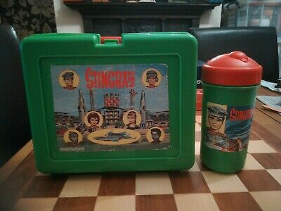 Vintage Circa 1992 Green STINGRAY Lunchbox With Original Flask USED