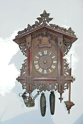 Nice quality Antique/Vintage CUCKOO CLOCK with weights but bird has flown!!