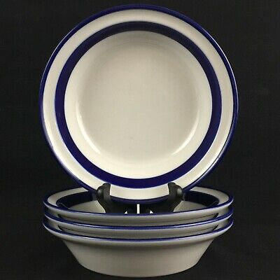 """Lot of 4 VTG Soup Bowls 7 1/2"""" by Noritake Fjord Blue and White Stoneware Japan"""