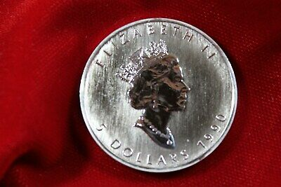 1990 Canada 5 Dollar Silver Maple Leaf 1Oz .9999 Fine Coin In Air-Tite Capsule,