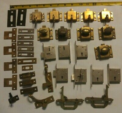 Lot of 21 Vintage Brass Steel Cabinet Cupboard Door Locks Keep Plates