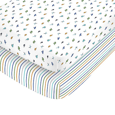 Carter's 100% Cotton Sateen 2 Piece Dino and Blue Navy Stripe Fitted Crib