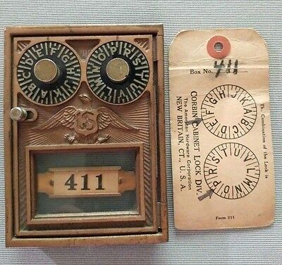 VINTAGE BRASS & GLASS DUAL COMBINATION POST OFFICE LOCKBOX DOOR & TAG by CORBIN