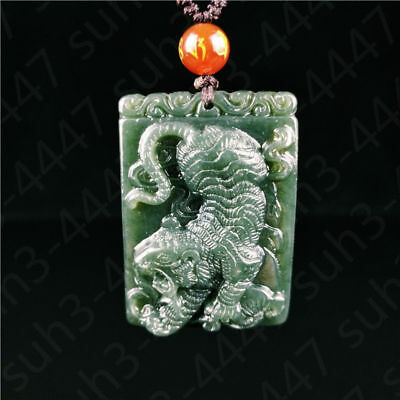 Certified Natural Hetian Jade Tiger Pendant Necklace Charm Jewelry Amulet Hot