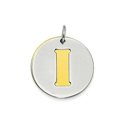 Sterling Silver GP Initial I Double Plate Round Charm (0.8in)