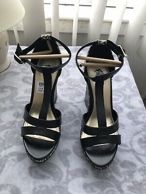 FIONI 8.5 Black Vegan Heel Platform Wedge High Heel Sandal
